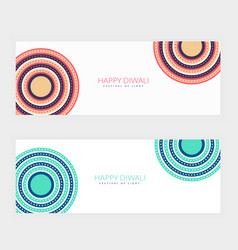 Clean happy diwali festival banners vector
