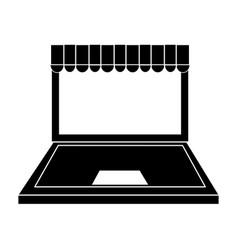 Computer with online shopping or ecommerce icon vector