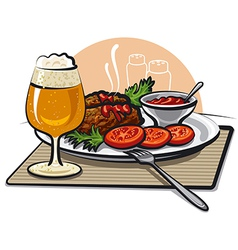 cutlets and beer vector image vector image