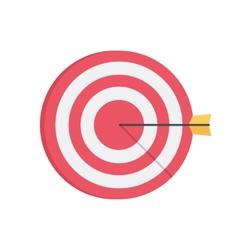 Darts aim board successful shot vector
