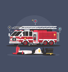Fire truck and equipment for fire extinguishing vector