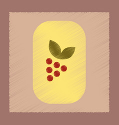 Flat shading style icon grapes with leaf vector