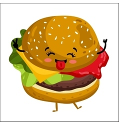 Funny hamburger isolated cartoon character vector