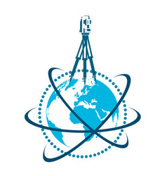 Geodesic device and globe symbol vector