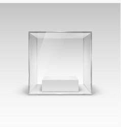 glass showcase in cube form for presentation vector image vector image