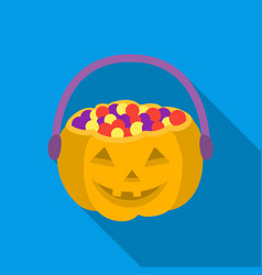 halloween bucket icon in flate style isolated on vector image
