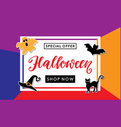 halloween sale handwritten lettering vector image