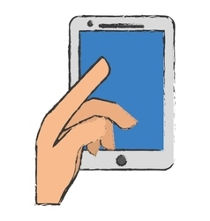 Hand and smartphone icon image vector