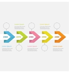 Infographic five step timeline ribbon arrow vector