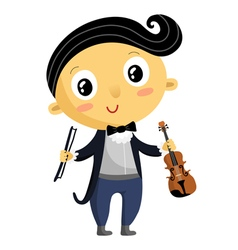 Kid musician cartoon character isolated on white vector image vector image