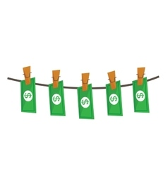 laundered dollars on rope vector image