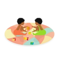 Little african baby twins vector
