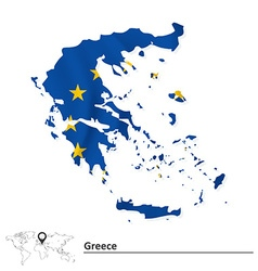 Map of Greece with European Union flag vector image