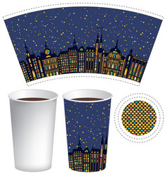 Paper cup for hot drink with old town in the night vector