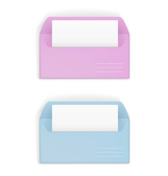 Pink and blue envelopes vector