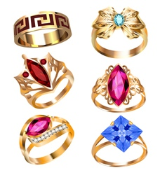 ring set with precious stones vector image vector image