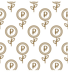 ruble currency symbol floral abstract seamless vector image