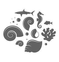 Shell and fish vector image vector image