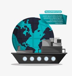 Ship cargo container transport worldwide vector