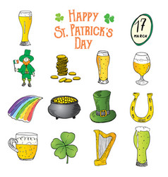 St patricks day hand drawn doodle icons set with vector