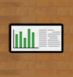 Tablet with business graph vector