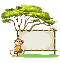 A monkey with a banana near the empty signage vector image
