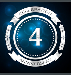 four years anniversary celebration with silver vector image