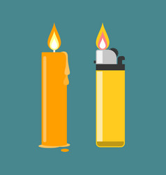 lighter and candleflat design vector image