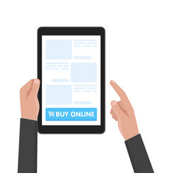 Man hand hold tablet computer with website vector
