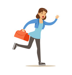 Girl running with suitcase late for flight vector