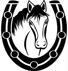 Horse and horseshoe vector