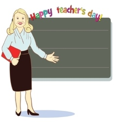 Happy teacher day template for card vector