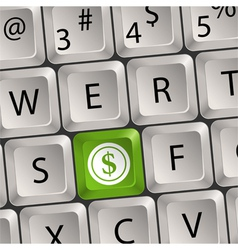 computer keyboard with dollar key vector image