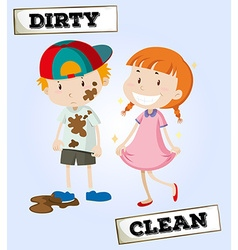 Dirty boy and clean girl vector