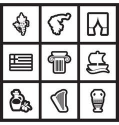 Set of flat icon in black and white style greece vector