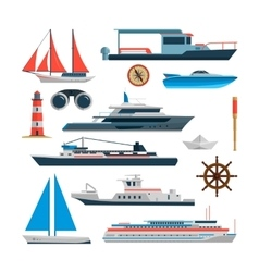 Sea set of ships boats and yacht isolated vector