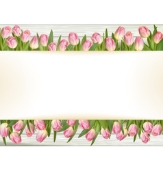 Pink tulips with space for text eps 10 vector