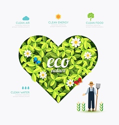 Ecology infographic green heart shape with farmer vector