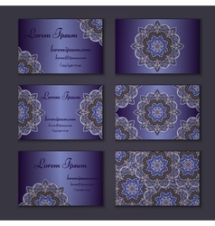 Visiting and business card set with mandala vector