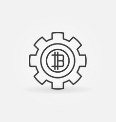 bitcoin in gear line icon vector image