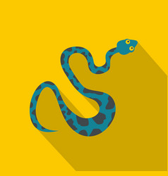 Blue snake with spots icon flat style vector
