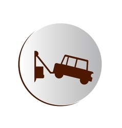 Circular button with tow truck vector