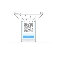 Concept scanning qr code with the camera on your vector image
