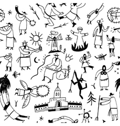 Ethnic musicians - seamless background vector image vector image