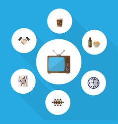 Flat icon life set of beer with chips television vector