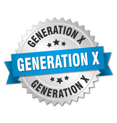Generation x round isolated silver badge vector