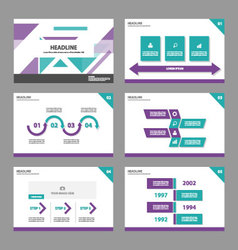 Green purple presentation templates infographic vector