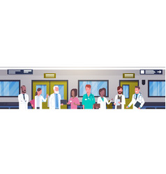 Group of doctors in hospital corridor horizontal vector
