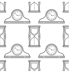 hourglass and mantel clocks black and white vector image