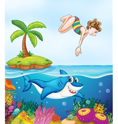 Island corel shark and girl diving vector